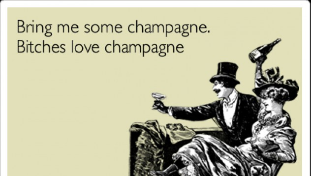 Пий шампанско