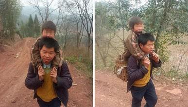 Китаец ходи по 30 километра, за да осигури образование на сина си