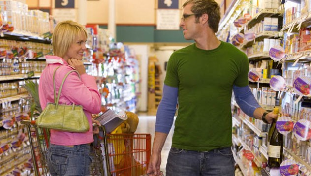 Орална любов на промоция в супермаркета
