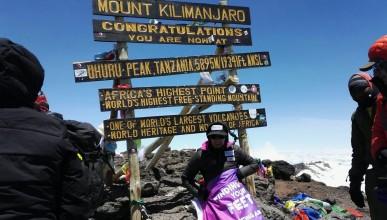 Жена без крайници изкачи Килиманджаро