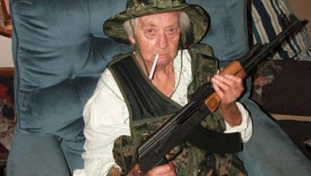 Старица застреляла сина си